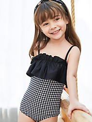 cheap -Kids Girls' Swimwear One Pieces Swimsuit Print Swimwear Houndstooth Sleeveless Photo Color Active Bathing Suits