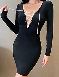 cheap -Women's A Line Dress Short Mini Dress Composition: 95% polyester 5% spandex Fabric: Milk silk Maximum code weight: 0.215kg Black Long Sleeve Solid Color Summer V Neck Elegant 2021 S M L