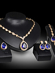 cheap -Women's Jewelry Set Bridal Jewelry Sets 3D Precious Pear Fashion Gold Plated Earrings Jewelry Blue / Red For Christmas Wedding Halloween Party Evening Gift 1 set