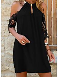 cheap -Women's Sundress Short Mini Dress Black Blue Red Green Short Sleeve Solid Color Lace Summer Halter Neck Casual 2021 S M L XL XXL