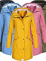 cheap -women's solid rain jacket outdoor hoodie waterproof long coat overcoat windproof(pink, xx-large)