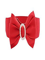cheap -women girls fashion big bowknot buckle adjustable elastic wide waist belt (one size, red)
