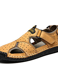 cheap -Men's Sandals Casual Vintage Beach Athletic Outdoor Water Shoes Upstream Shoes Nappa Leather Cowhide Breathable Handmade Non-slipping Booties / Ankle Boots Light Brown Dark Brown Yellow Spring Summer