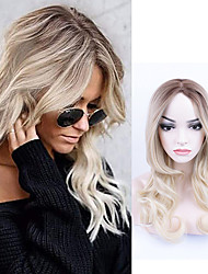 cheap -Curly Mid-length Golden Gradient Wig Chemical Fiber Wig Long Curly Hair Gradient Long Bangs Trendy Wig
