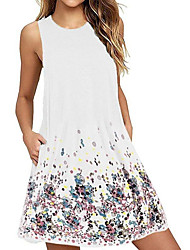 cheap -wish ebay europe and america hot summer print round neck sleeveless vest dress loose a-line dress