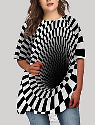 cheap -Women's Plus Size Check Graphic Geometry Print Casual Half Sleeve Fall Short Mini Dress T Shirt Dress Tee Dress Black