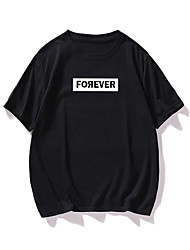 cheap -Men's Unisex T shirt Hot Stamping Letter Plus Size Print Short Sleeve Casual Tops 100% Cotton Basic Casual Fashion Black