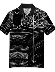 cheap -Men's Polo 3D Print Spider web Animal Button-Down Print Short Sleeve Casual Tops Casual Fashion Soft Breathable Black