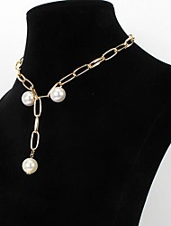 cheap -Women's Chain Necklace Classic Imitation Pearl Alloy Gold 46 cm Necklace Jewelry 1pc For Festival