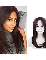cheap -Natural Straight Mid-length Bown Wig Chemical Fiber Mechanism Headgear Long Straight Hair Free Boundary Daily Wig Headgear