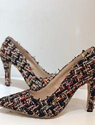 cheap -Women's Sandals High Heel Pointed Toe Knit Rhinestone Striped Camouflage Black Blue Beige