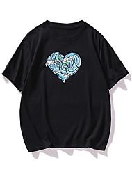 cheap -Men's T shirt Hot Stamping Heart Graphic Prints Print Short Sleeve Daily Tops 100% Cotton Fashion Vintage Classic Black