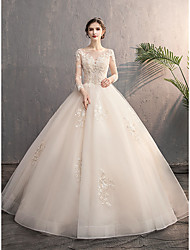 cheap -Princess Ball Gown Wedding Dresses Jewel Neck Floor Length Lace Tulle Long Sleeve Romantic with Appliques 2021