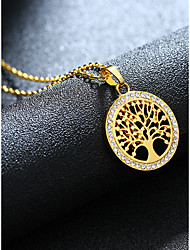 cheap -Women's Pendant Necklace Charm Necklace Retro Tree of Life Fashion Zircon Gold Plated Alloy Gold 55 cm Necklace Jewelry 1pc For Christmas Wedding Halloween Party Evening Formal