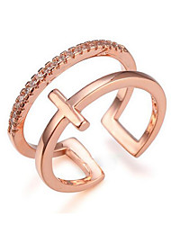 cheap -Band Ring Geometrical Rose Gold Silver Zircon Copper Gold Plated Cross Precious Fashion 1pc Adjustable / Women's / Open Cuff Ring / Adjustable Ring