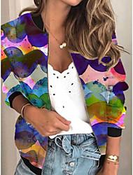 cheap -Women's Print Print Active Spring &  Fall Jacket Regular Daily Long Sleeve Air Layer Fabric Coat Tops Purple