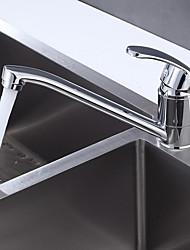 cheap -Kitchen faucet - Single Handle One Hole Chrome / Nickel Brushed Standard Spout Centerset Contemporary Kitchen Taps