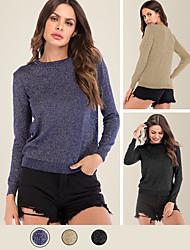 cheap -Women's Daily Blouse Plain Long Sleeve V Neck Tops 65%Polyester 35%Cottton Basic Basic Top Black Blue Khaki / Micro-elastic / Hand wash