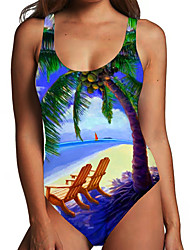 cheap -Women's One Piece Monokini Swimsuit Tummy Control Print Tropical Leaf Blue Swimwear Bodysuit Strap Bathing Suits New Fashion Sexy / Padless
