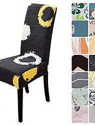 cheap -Dinning Chair Cover Stretch Chair Seat Slipcover Soft Floral Flower Pattern Durable Washable Furniture Protector For Dinning Room Party