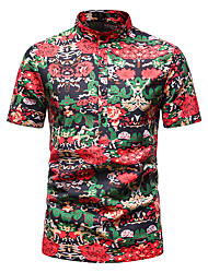 cheap -Men's Shirt Other Prints Abstract Short Sleeve Daily Tops 100% Cotton Red