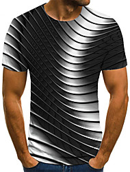 cheap -Men's T shirt 3D Print Geometric 3D Print Print Short Sleeve Casual Tops Casual Fashion Black / White
