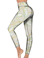 cheap -21Grams Women's High Waist Yoga Pants Cropped Leggings Tummy Control Butt Lift Breathable Light Green Fitness Gym Workout Running Sports Activewear High Elasticity