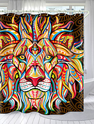 cheap -Color Three-Eyed Lion Digital Printing Shower Curtain Shower Curtains  Hooks Modern Polyester New Design