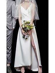 cheap -A-Line Wedding Dresses V Neck Floor Length Satin Sleeveless Simple Sexy Little White Dress with Split Front 2021