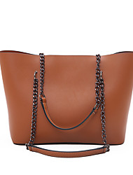 cheap -Women's Bags PU Leather Leather Tote Crossbody Bag Zipper Chain Daily Outdoor Handbags Chain Bag Black Red Brown