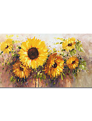 cheap -Oil Painting Hand Painted Abstract SunFlowers Canvas Painting Comtemporary Simple Modern Stretched Canvas Ready to Hang
