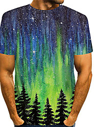 cheap -Men's T shirt 3D Print Graphic Prints Landscape 3D Print Short Sleeve Daily Tops Basic Casual Green