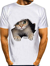 cheap -Men's T shirt 3D Print Cat Graphic Prints Animal 3D Print Short Sleeve Daily Tops Basic Casual White Blue Purple