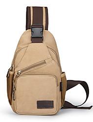 cheap -Men's Bags Canvas Sling Shoulder Bag Chest Bag Zipper Plain Daily Outdoor 2021 Canvas Bag MessengerBag Black Blue khaki Brown