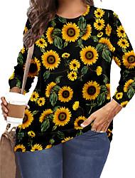 cheap -Women's Plus Size Tops T shirt Print Floral Graphic Sunflower Large Size Crewneck Long Sleeve Big Size XL XXL 3XL 4XL 5XL Black Yellow