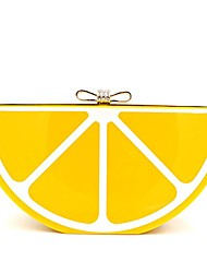 cheap -women acrylic lemon evening bags purses clutch vintage banquet handbag