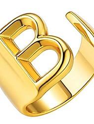cheap -gold initial ring for men chunky rings gold letter ring adjustable open ring for women (b)