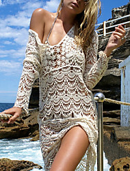 cheap -Women's Cover-Up Swimsuit Solid Colored Normal Swimwear Bathing Suits White Beige