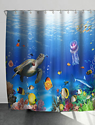 cheap -Shower Curtains with Hooks Rustic Underwater World Scenery Polyester Novelty Fabric Waterproof Shower Curtain for Bathroom