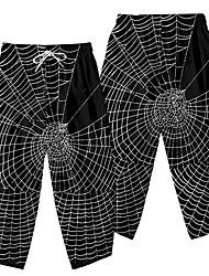 cheap -Men's Casual / Sporty Athleisure Daily Sports Wide Leg Pants Spider web Full Length Elastic Waist 3D Print Black