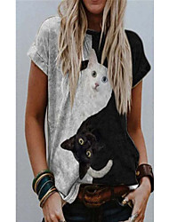 cheap -Women's T shirt Cat 3D Animal Print Round Neck Tops Basic Basic Top Black