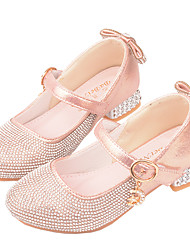 cheap -Girls' Heels Flower Girl Shoes Princess Shoes School Shoes Rubber PU Little Kids(4-7ys) Big Kids(7years +) Daily Party & Evening Walking Shoes Rhinestone Sparkling Glitter Buckle Pink Silver Fall