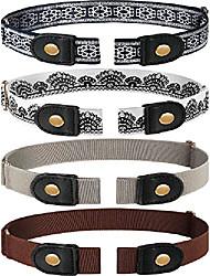 cheap -4 pieces no buckle stretch belt buckless belt invisible elastic belt unisex for jeans pants (color 3)
