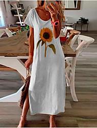 cheap -Women's A Line Dress Maxi long Dress White Black Blue Yellow Blushing Pink Short Sleeve Floral Spring Summer Round Neck Casual 2021 S M L XL XXL 3XL 4XL 5XL