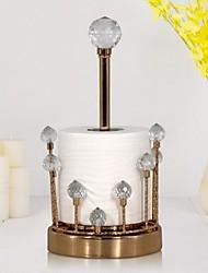 cheap -Desktop Tissue Holder Creative Crystal Tissue Box Dining Room Living Room Vertical Metal Paper Roll Holder