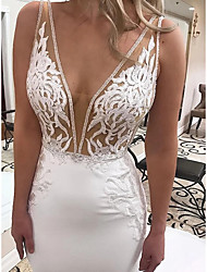 cheap -Mermaid / Trumpet Wedding Dresses V Neck Sweep / Brush Train Lace Stretch Fabric Sleeveless Romantic Sexy with Crystals Appliques 2021