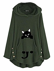 cheap -fastbot women's cute hoodies cat printed sweater pullover long sleeve cashmere sweater fuzzy fluffy tops army green