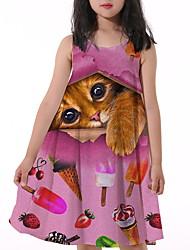 cheap -Kids Little Girls' Dress Cherry Cat Fruit Animal Print Fuchsia Knee-length Sleeveless Flower Active Dresses Summer Regular Fit 5-12 Years