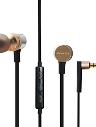 cheap -AWEI ES-10TY Wired In-ear Earphone 3.5mm Audio Jack Stereo with Microphone with Volume Control for Apple Samsung Huawei Xiaomi MI  Mobile Phone