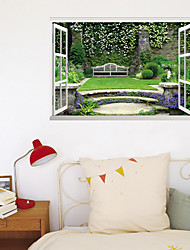 cheap -3D False Window Green Grass Flower Wall Park Corner Home Background Decoration Can Be Removed Stickers 60*90cm